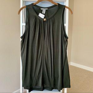 H&M Olive Green Sleeveless Keyhole Detail Blouse